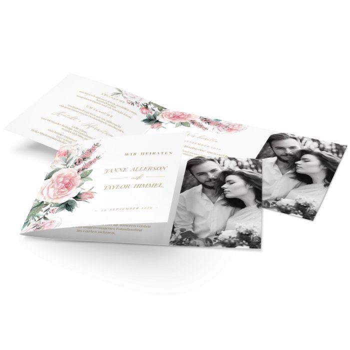Hochzeitseinladung im Landhausstil mit handgemalten Rosen und eurem Foto