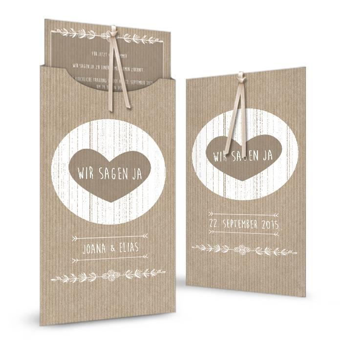 Vintage Hochzeitseinladung Einsteckkarte im Packpapier-Stil