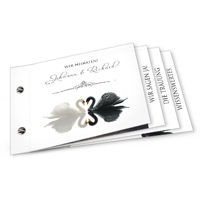 Elegante Hochzeitseinladung mit Schwänen als Booklet