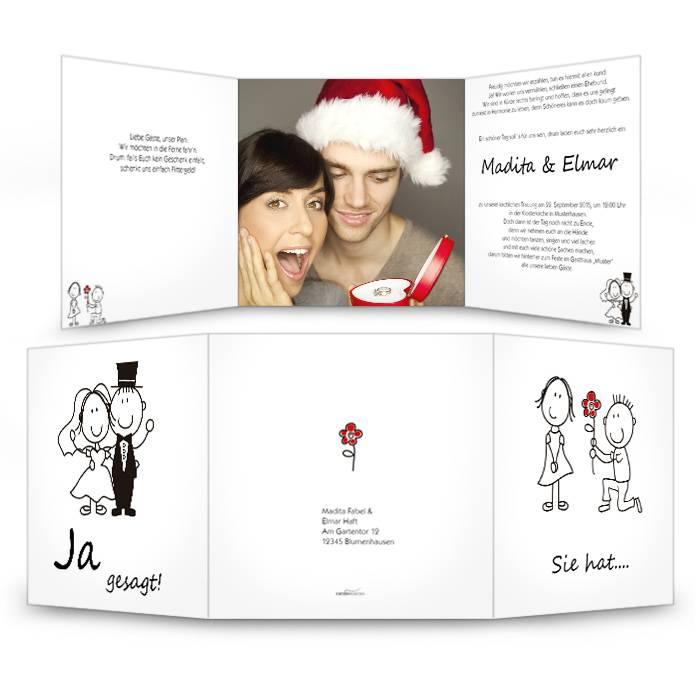 Einladungskarte zur Hochzeit mit Karikatur Braupaar