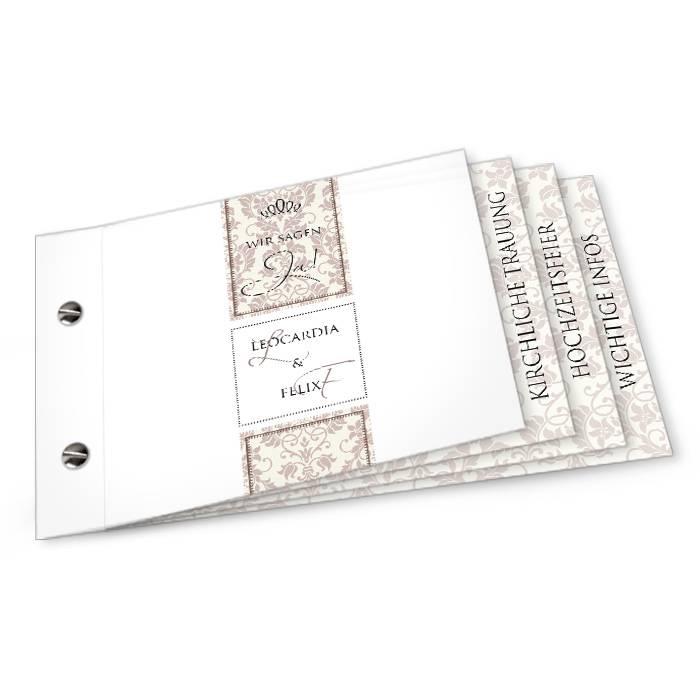 Hochzeitseinladung mit Ornamenten als Booklet in Braun