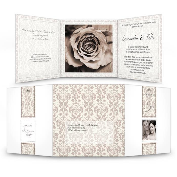Hochzeitseinladung mit Ornamenten als Wickelfalz in Braun
