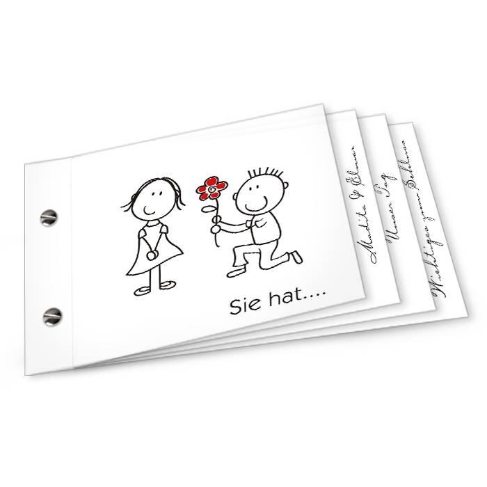 Einladung zur Hochzeit mit Karikatur Braupaar als Booklet
