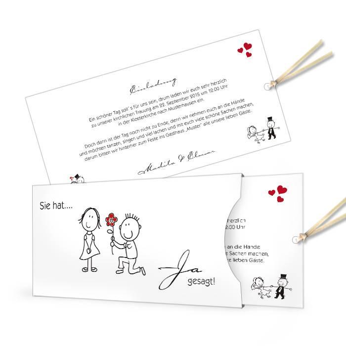 Hochzeitseinladung mit Karikatur Braupaar als Einsteckkarte