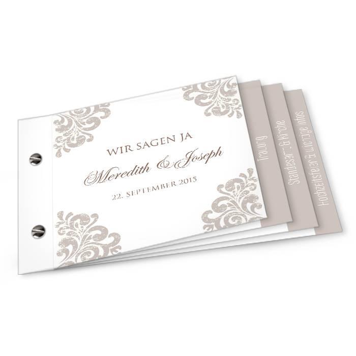 Edle Hochzeitseinladung mit barocken Elementen als Booklet