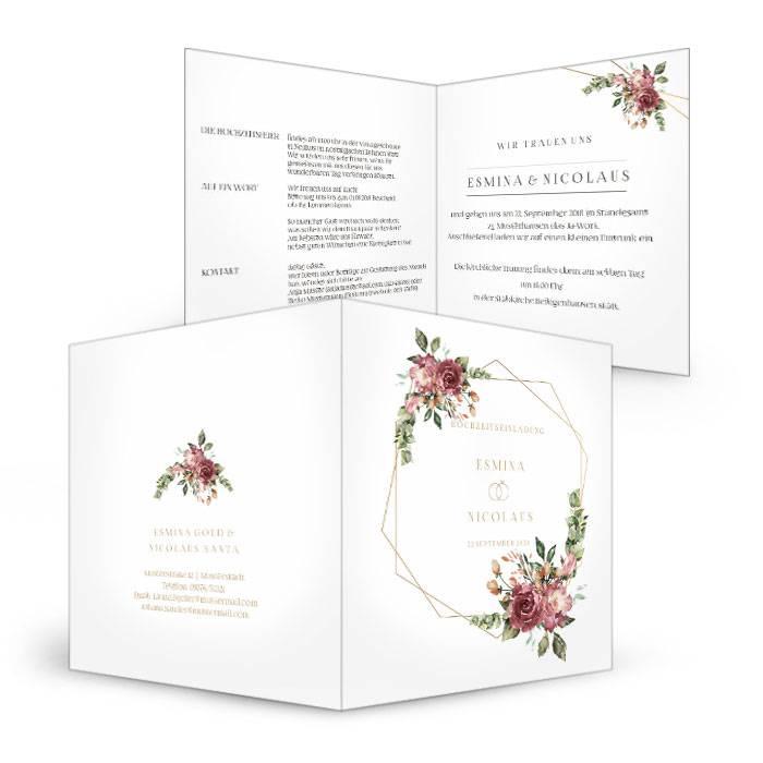 Hochzeitseinladung mit Aquarellrosen in Bordeaux