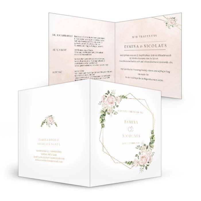 Hochzeitseinladung mit Aquarellrosen und Eukalyptus
