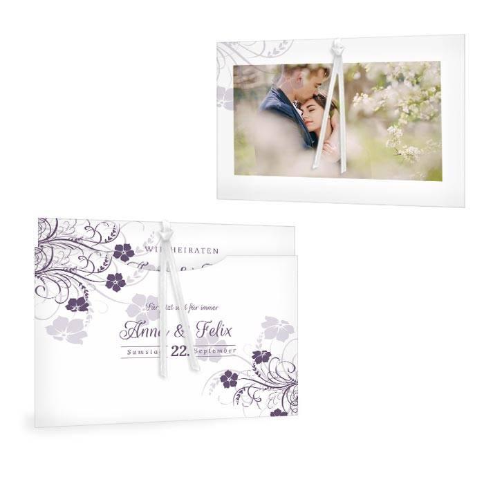 Hochzeitseinladung mit floralen Blumen in lila - Anna und Felix