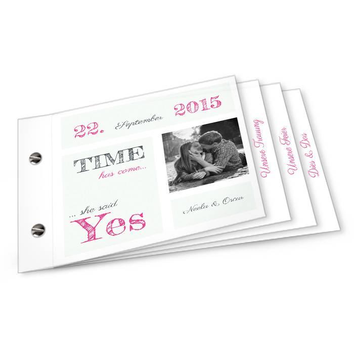 Moderne Hochzeitseinladung in Minz als Booklet mit Foto