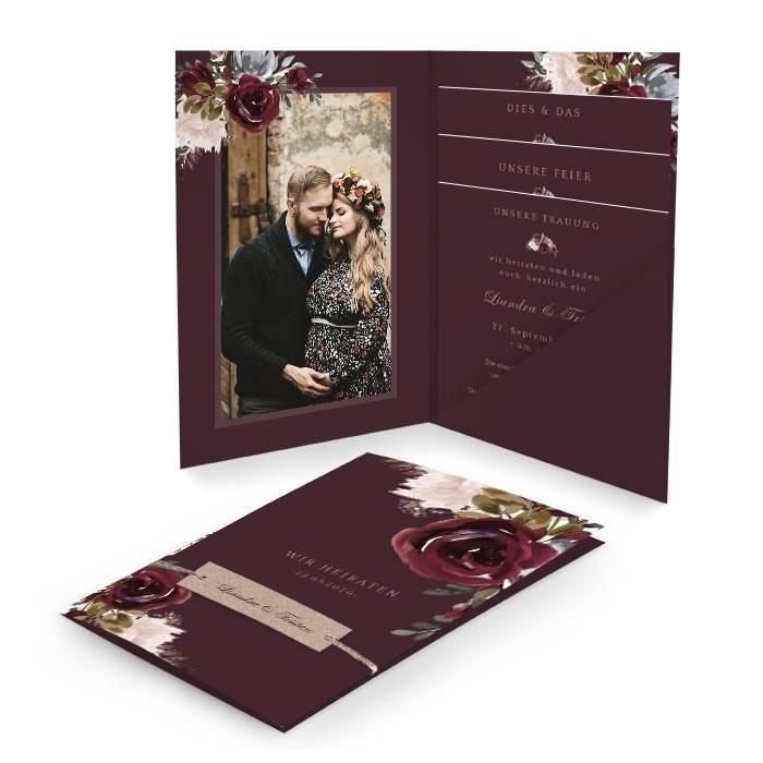 Hochzeitseinladung als Pocketfold in Burgunder mit Rosen