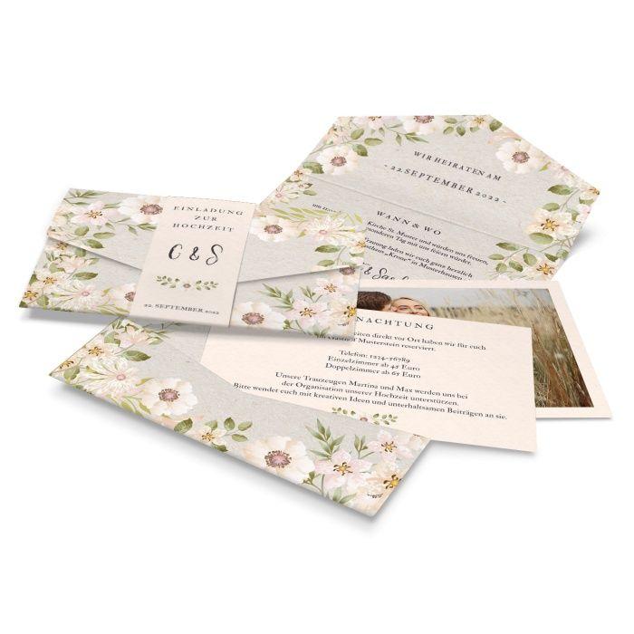 Hochzeitseinladung Pocket im Vintage Stil mit Aquarellblumen