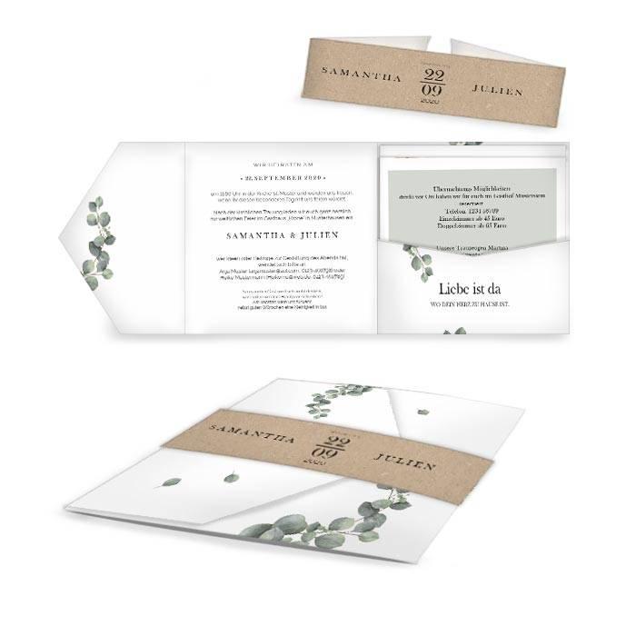 Greenery Hochzeitseinladung als Pocketfold mit Eukalyptus
