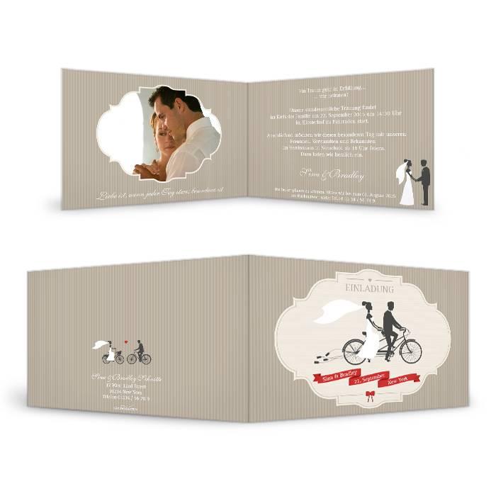Einladung zur Hochzeit mit Tandem Motiv als Klappkarte