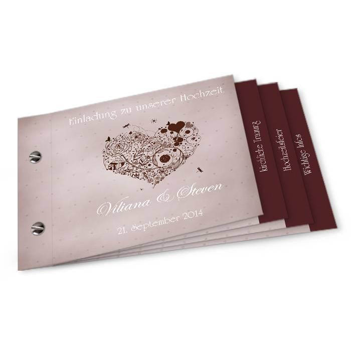 Hochzeitseinladung mit floralem Herz in Grau als Booklet
