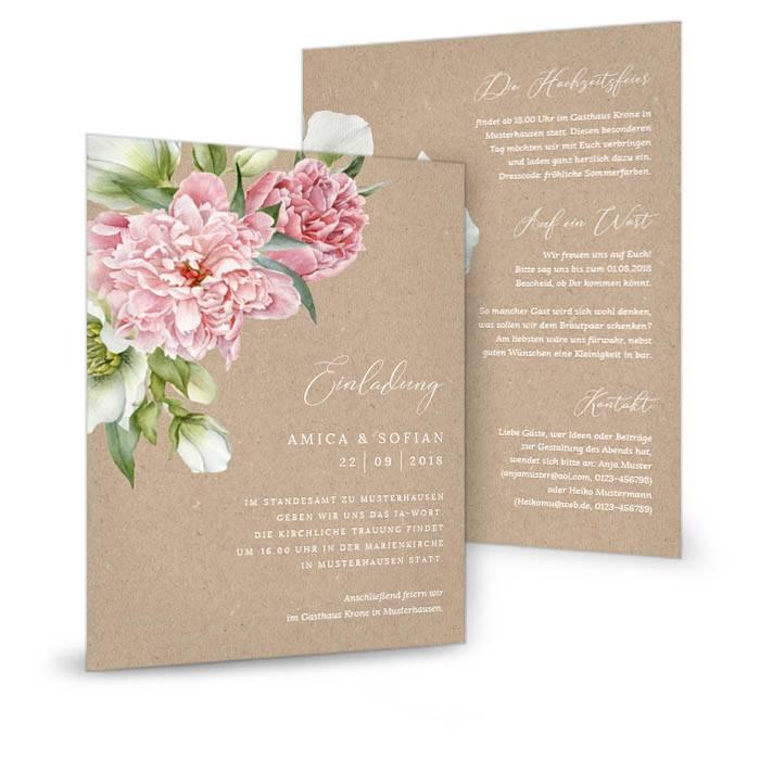 Einladung zur Hochzeit in Kraftpapieroptik mit Pfingstrosen
