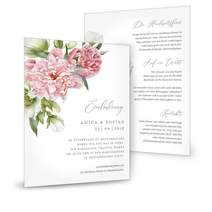 Hochzeitseinladung mit eleganten Pfingstrosen als Postkarte