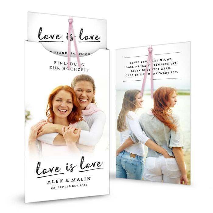 Hochzeitseinladung als Einsteckkarte zur Hochzeit für Frauen