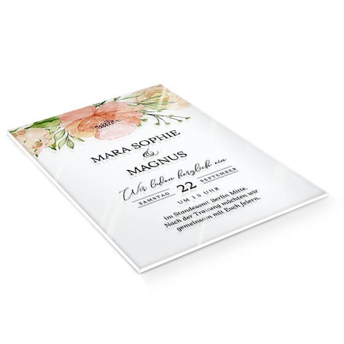 Hochzeitseinladung mit Watercolor Rosen in Blush auf Acryl