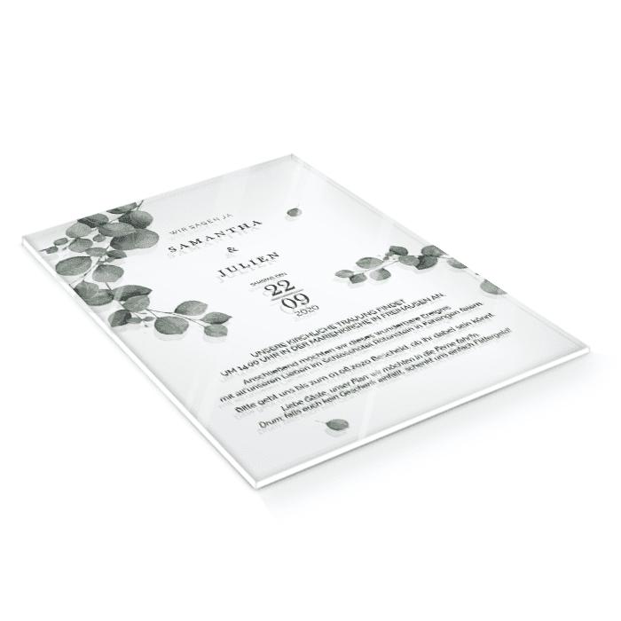 Greenery Hochzeitseinladung mit Eukalyptus auf Acryl