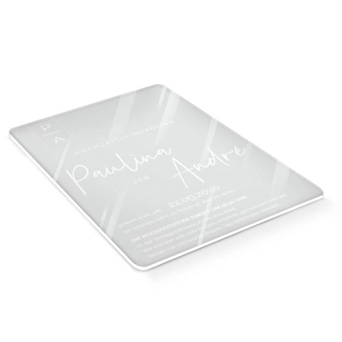 Moderne Hochzeitseinladung auf Acrylglas mit Namen und Logo
