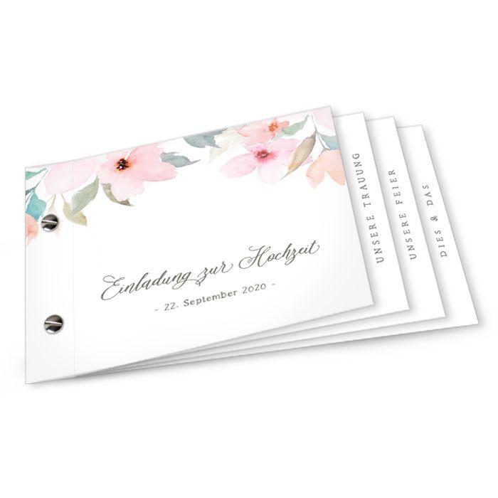 Einladungskarte als Booklet mit Blumen in Rosa