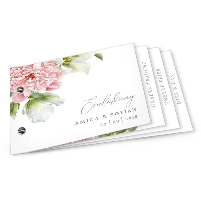 Hochzeitseinladung als Booklet mit eleganten Pfingstrosen