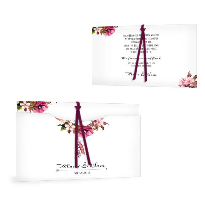 Einladung als Einsteckkarte zur Boho Hochzeit mit Traumfänger