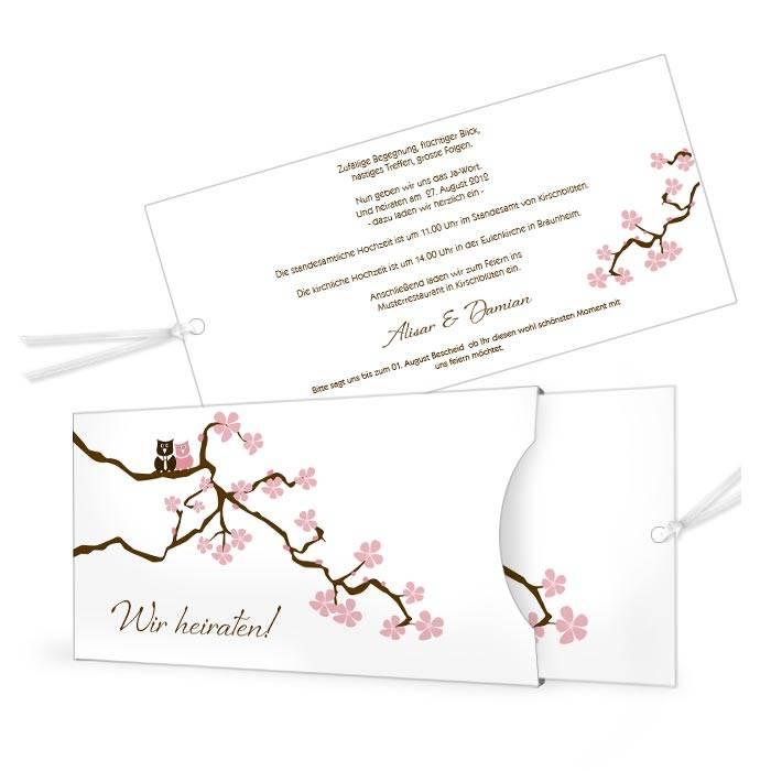 Hochzeitseinladung als Einsteckkarte mit Kirschzweig und Eulen