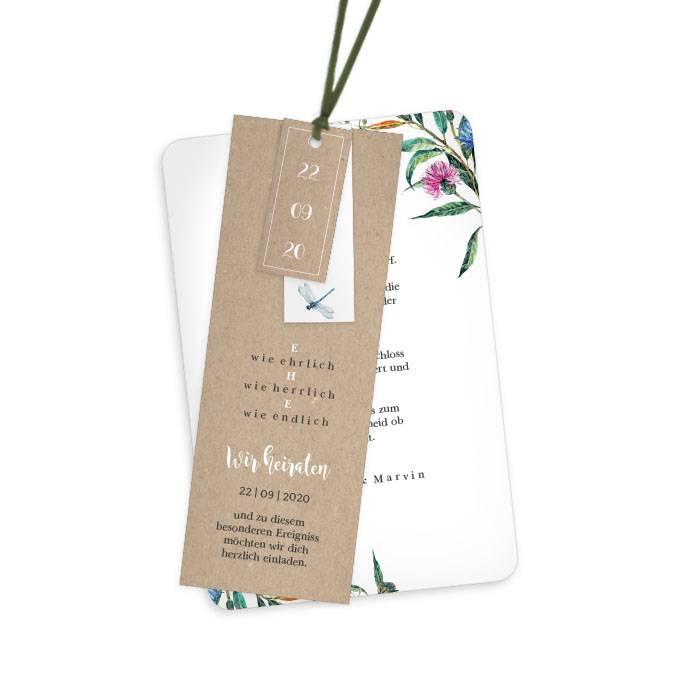 Einladung zur Hochzeit als Kartenset in Kraftpapieroptik