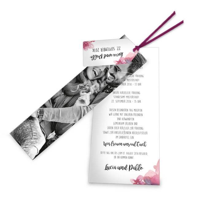 Hochzeitseinladung als Kartenset mit Aquarellblumen in Pink