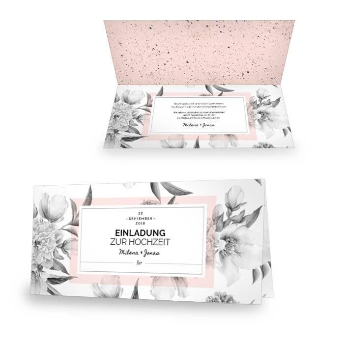 Hochzeitseinladung als Klappkarte im floralen Design in Rosa