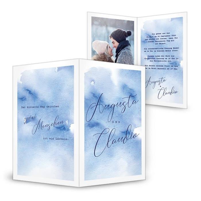 Hochzeitseinladung als Klappkarte mit Watercolor in Blau