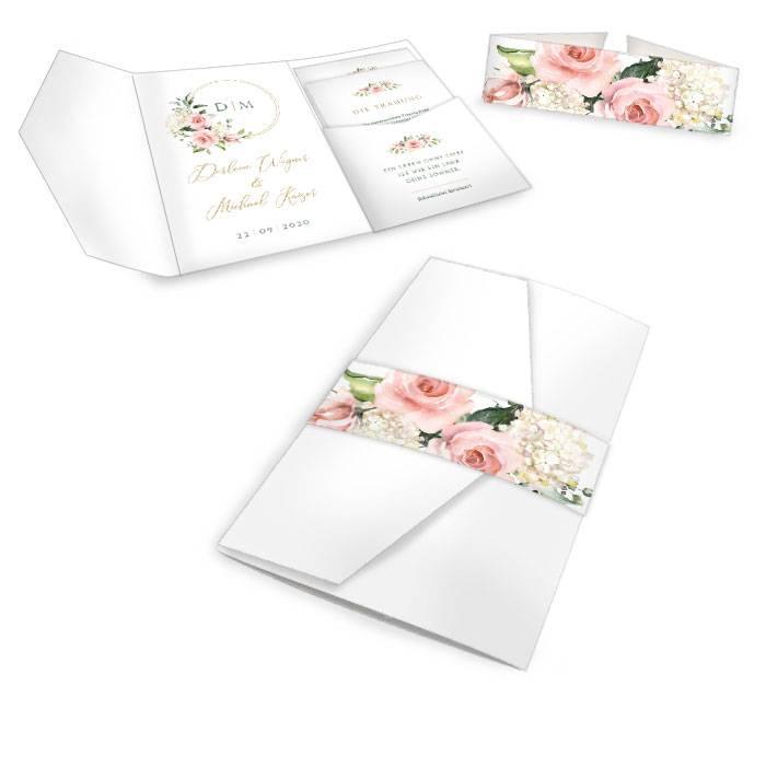 Hochzeitseinladung als Pocketfold mit Goldreif und Rosen