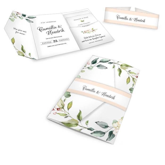 Hochzeitseinladung als Pocketfold im Greenery Stil