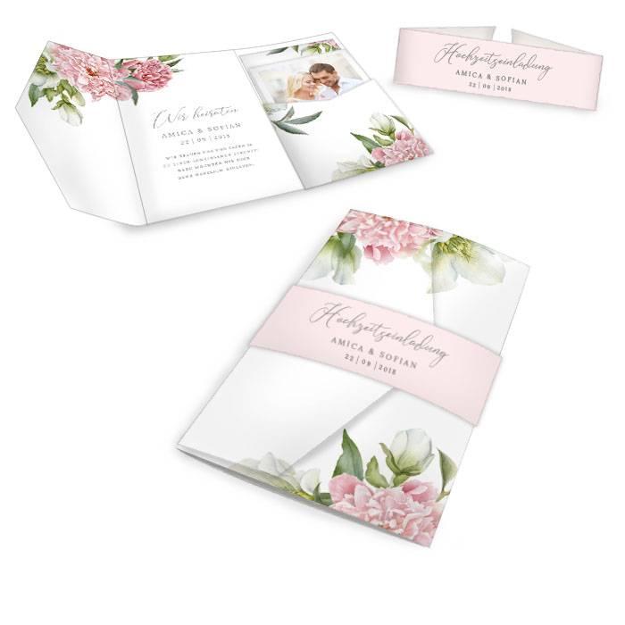 Hochzeitseinladung als Pocket Fold mit Pfingstrosen Design