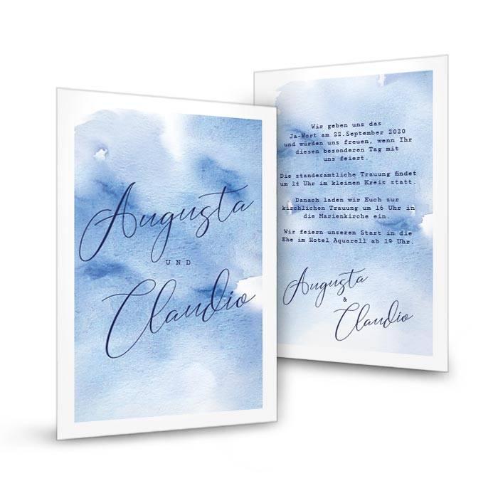 Hochzeitseinladung als Postkarte mit Watercolor in Blau