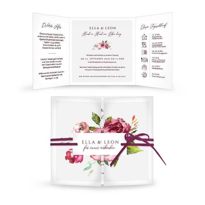 Hochzeitseinladung als Altarfalz mit herbstlichen Aquarellblumen