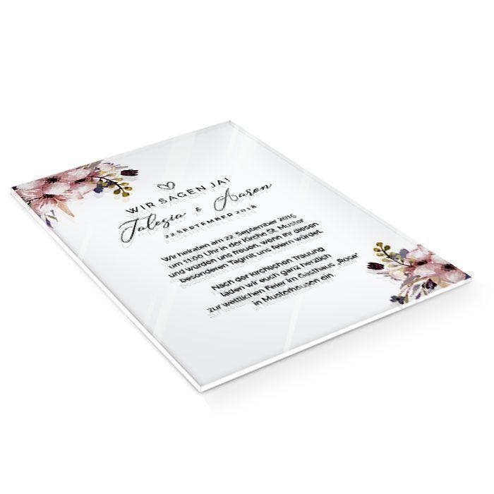Einladung zur Hochzeit auf Acryl mit Aquarellrosen