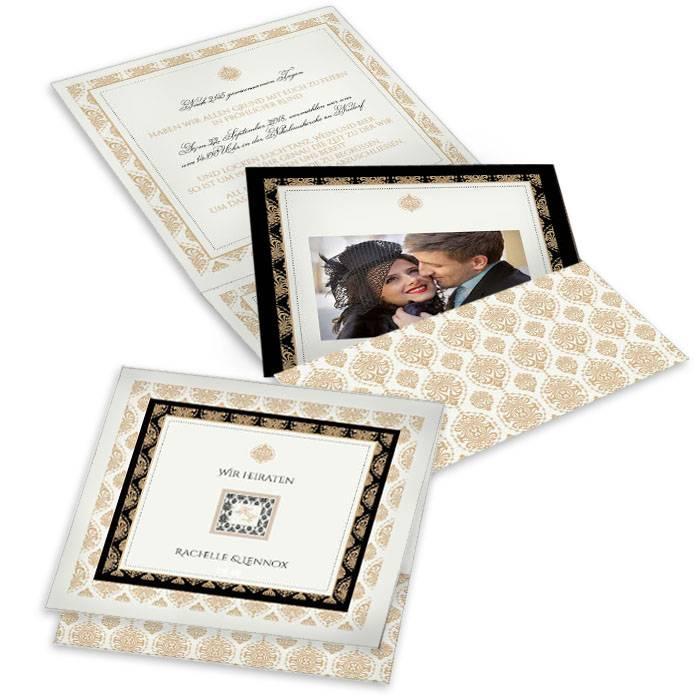 Art Deco Hochzeitseinladung in Schwarz und Gold als Pocket
