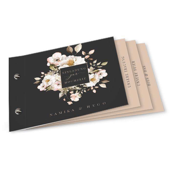 Hochzeitseinladung Booklet mit romantischen Blumen