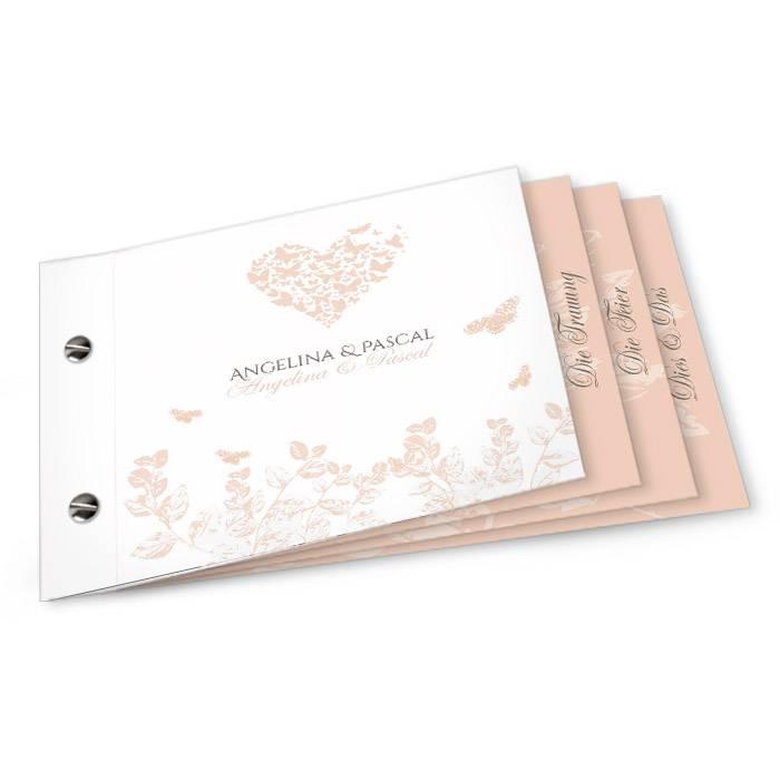 Hochzeitseinladung als Booklet mit Schmetterlingen in Herzform