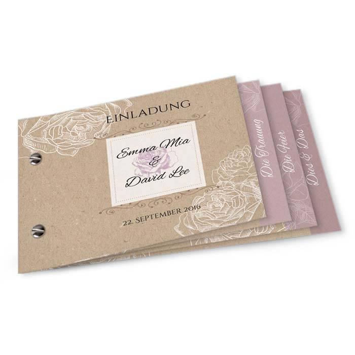 Hochzeitseinladung in Kraftpapieroptik mit Rosen als Booklet
