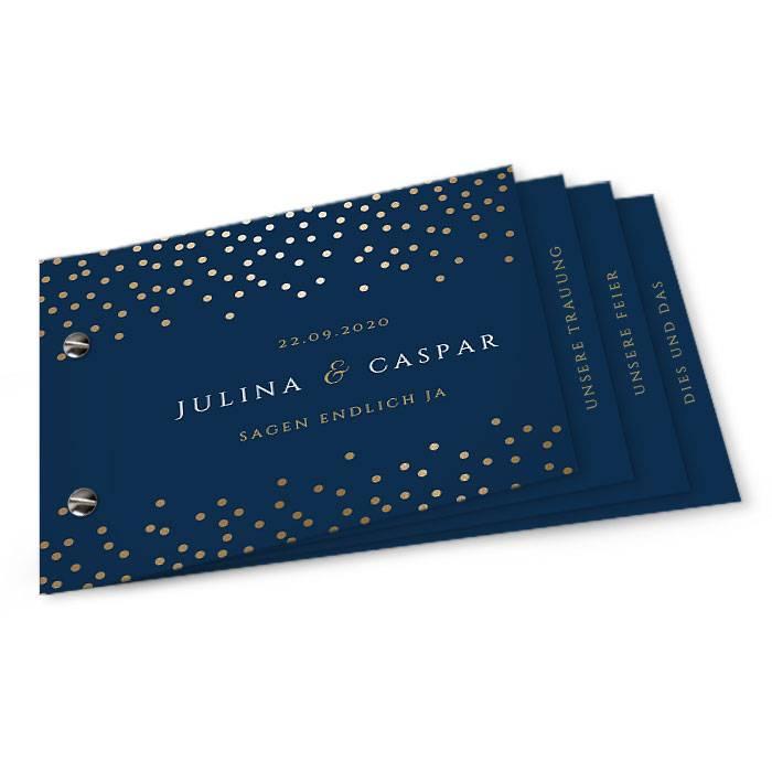 Hochzeitseinladung als Booklet mit Konfetti Regen in Gold