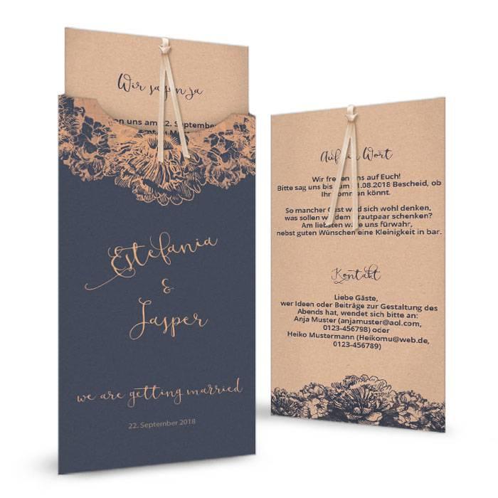 Hochzeitseinladung in Blau und Kupfer als Einsteckkarte