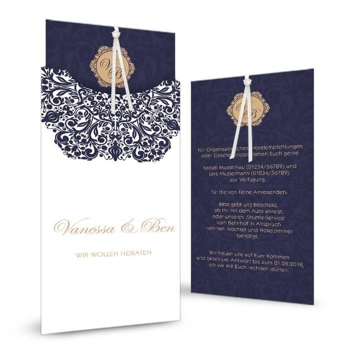 Hochzeitseinladung mit barockem Ornament in Blau und Weiß