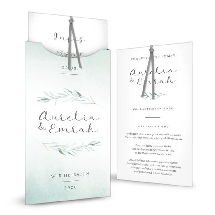 Hochzeitseinladung als Einsteckkarte im Greenery Aquarellstil