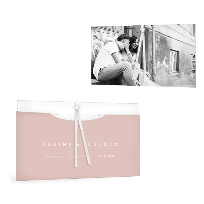 Rosa Einladung als Einsteckkarte zur modernen Hochzeit