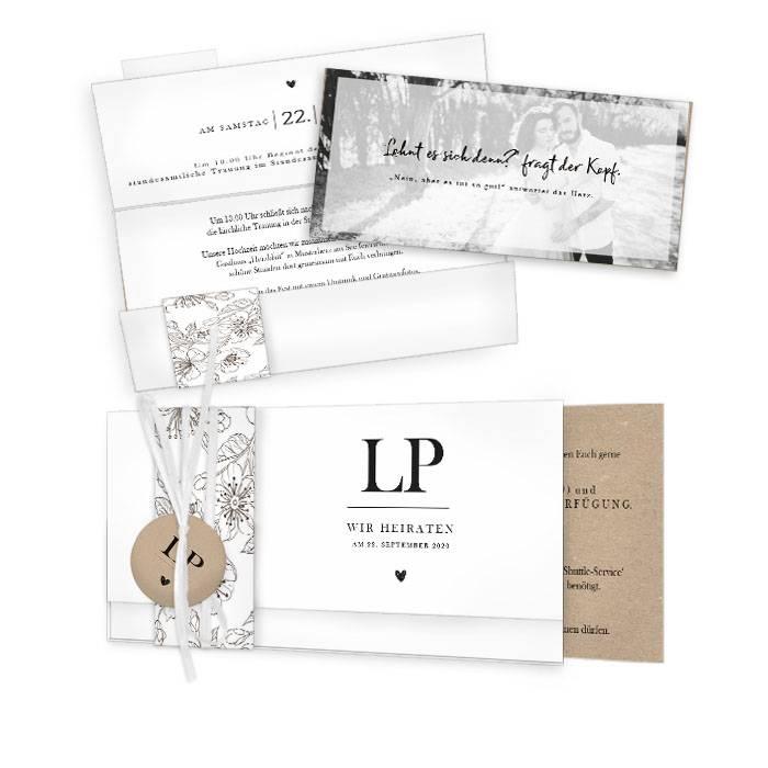 Hochzeitseinladung Fineart mit floralem Muster - Lesley