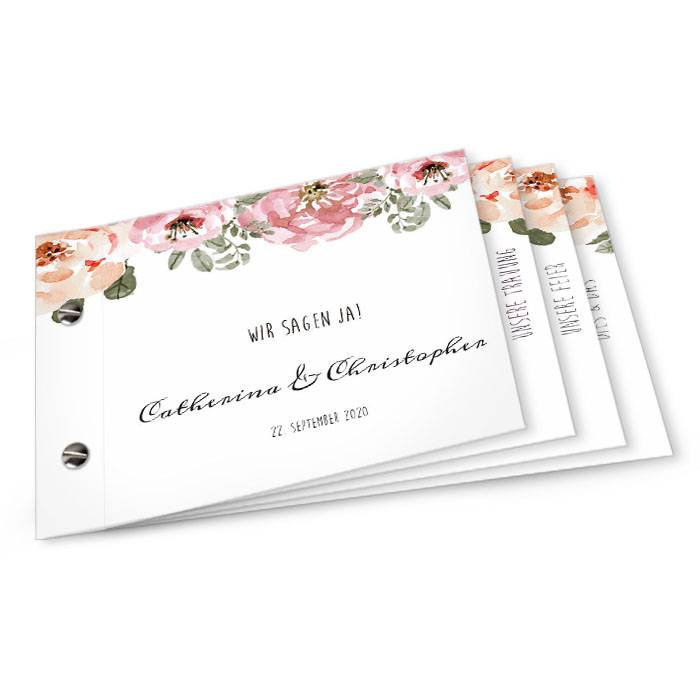 Vintage Hochzeitseinladung als Booklet mit Aquarellblumen
