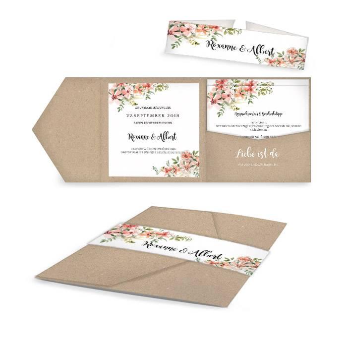Hochzeitseinladung mit Aquarellblumen als Pocket Fold